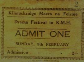 Admission Ticket to 1958 Kilmuckridge Drama Festival