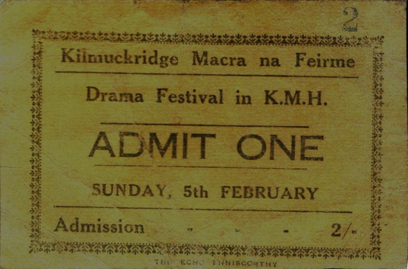 Admission Ticket to 1958 Kilmuckridge Drama Festival